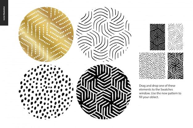 手描きの丸みを帯びたパターンセット