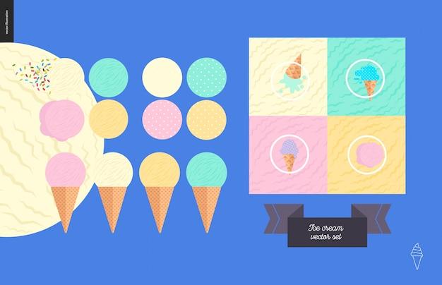 ワッフルコーンセットのアイスクリームスクープ