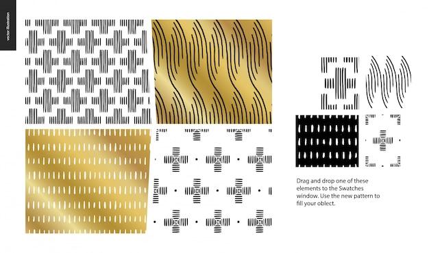 黒、金および白の幾何学的な線、点および形で描かれたパターンを手します。
