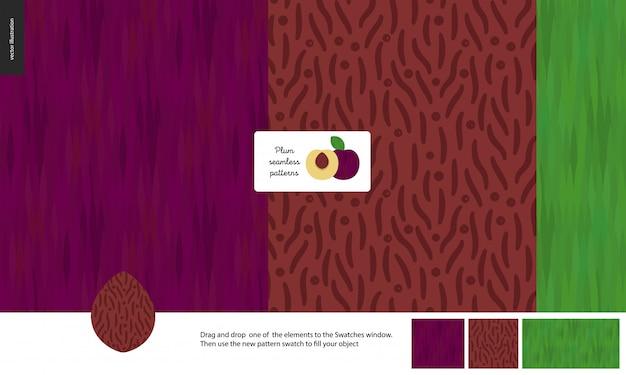 食品のシームレスなパターン、フルーツ、プラム
