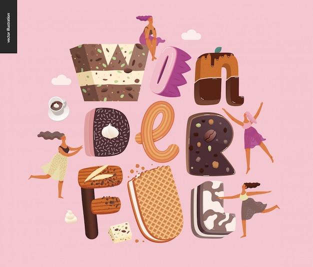 単語「素晴らしい」とデザートの誘惑フォント