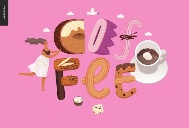 Десерт соблазнительный шрифт со словом «кофе»