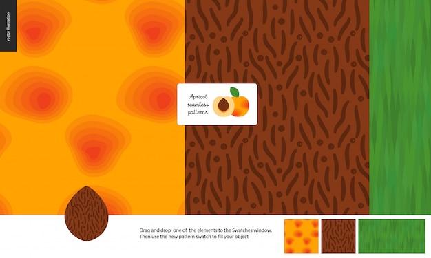 食品のシームレスなパターン、フルーツ、アプリコット