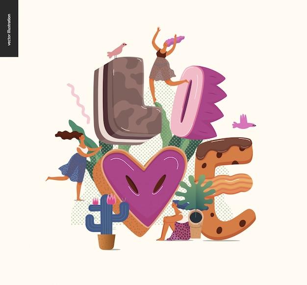 単語「愛」とデザートの誘惑フォント
