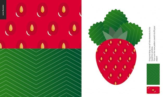 食物パターン、果物、イチゴ