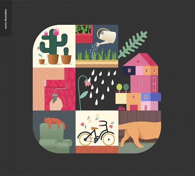 シンプルなもの-黒の背景に家の組成