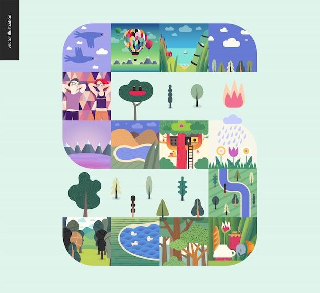 シンプルなもの-ミントの背景に森林セット構成