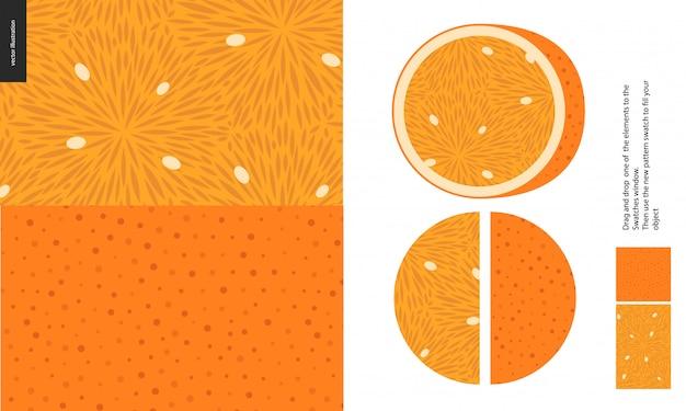 食品パターン、フルーツ、オレンジ