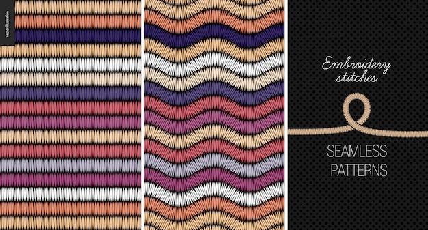 刺繍サテンステッチシームレスパターン
