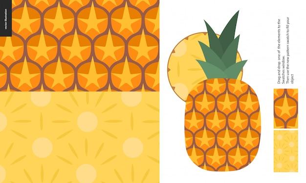 食品パターン、フルーツ、パイナップル