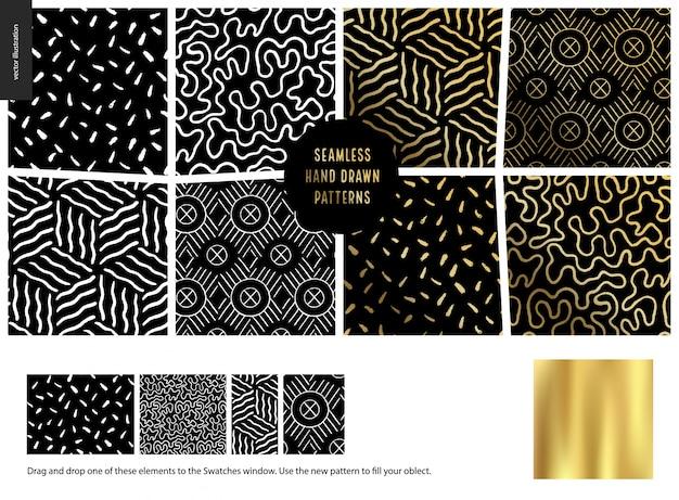 手描きのパターン、黒