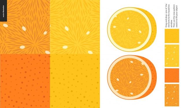 食物パターン、果物、レモン、オレンジ