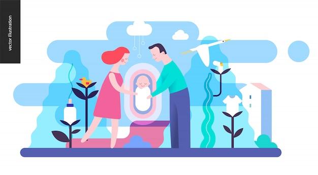 生殖 - 赤ちゃん連れの家族