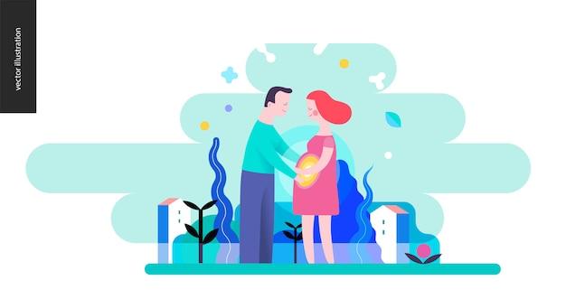生殖 - 妊娠中のカップル