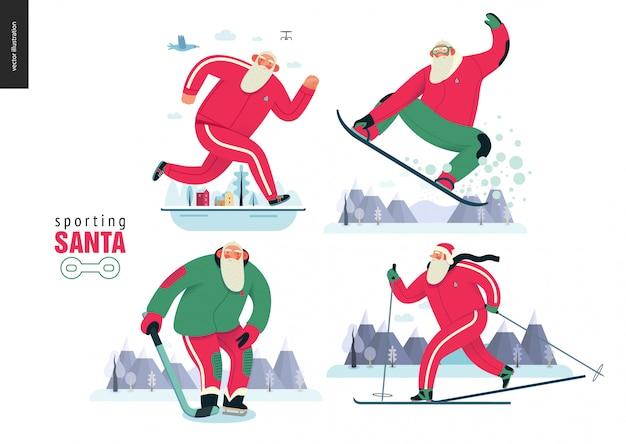 冬のアウトドア活動を行うスポーツサンタ