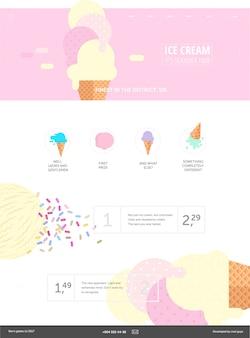 アイスクリームのウェブサイトピンクテンプレート