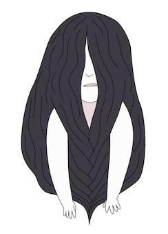 風ブルネットの少女