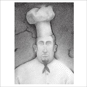 点線の黒と白の肖像画