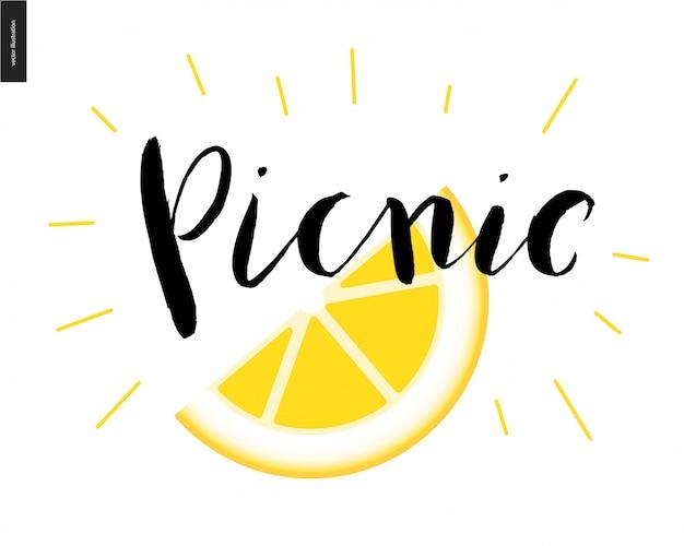 ピクニック書道文字とレモンのスライス