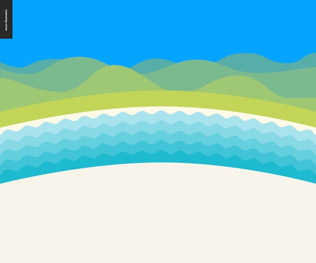 夏のビーチの風景の背景