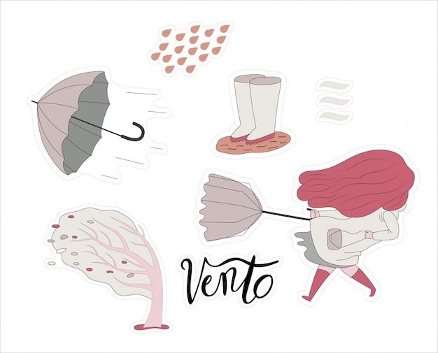 風の強い少女ステッカーセットのフラットベクトル漫画イラスト