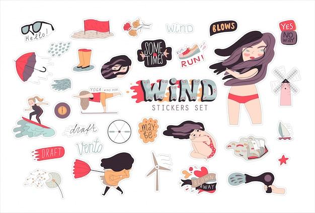 ブルネットの少女セットのフラットベクトル漫画イラスト