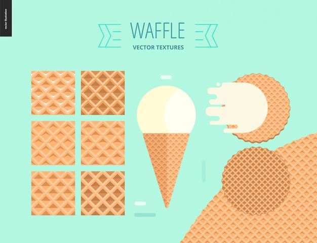 六つのシームレスなワッフルパターンのベクトルイラスト
