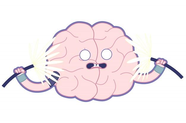 ショックを受けた脳の平らなイラスト、あなたの脳を鍛えます。
