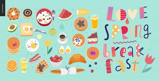 愛、春、朝食文字構成