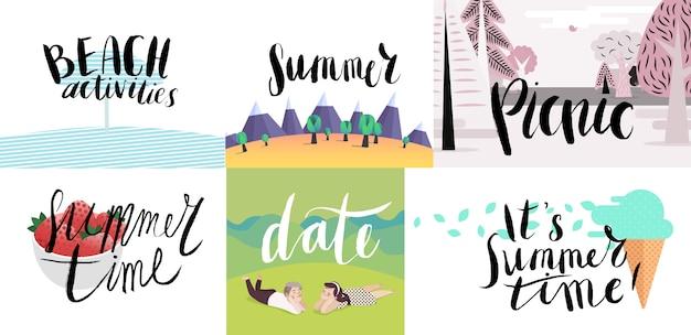 Надпись на пляже, пикник, отдых и лето