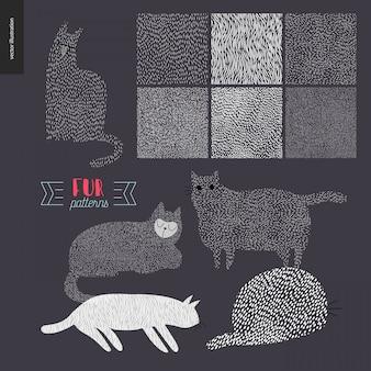 猫と手描きのパターン