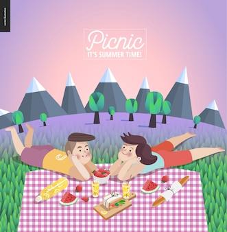ピクニックテンプレートの若いカップル