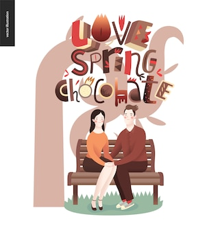 Любовный весенний шоколадный слоган - надпись композиции и пара, сидящая на скамейке
