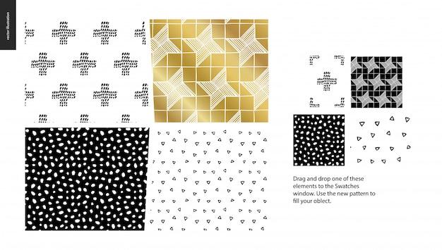 手描きのパターン - 抽象的なシームレスパターンのグループセット