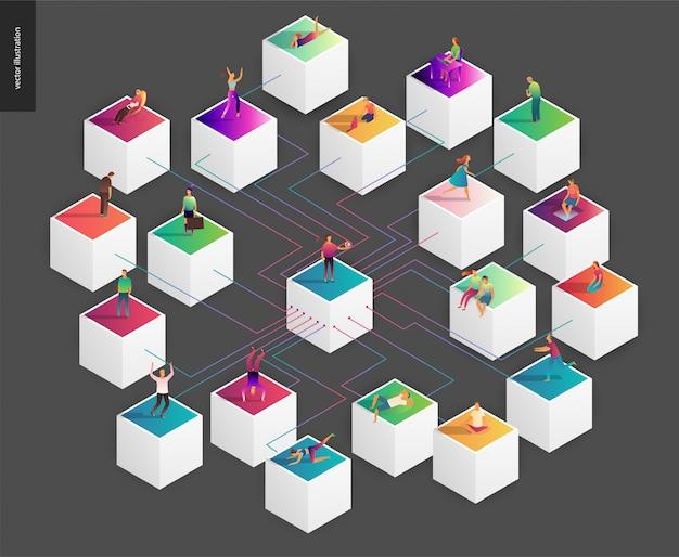 ブロックチェーンの概念ベクトル図