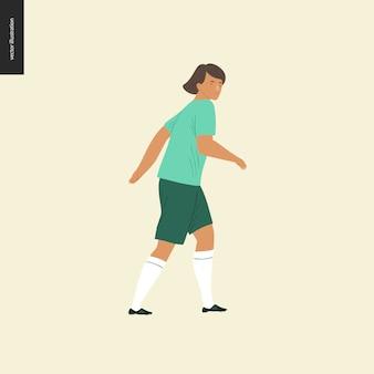 女子ヨーロッパサッカー、サッカー選手 - ヨーロッパのサッカー選手の機器を着て歩く若い女性の平らなベクトルイラスト