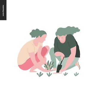 Люди летнее садоводство - плоская векторная иллюстрация концепции двух молодых женщин, сидящих на земле в положении на корточках, сажающих растение в почву с совком, концепция самодостаточности