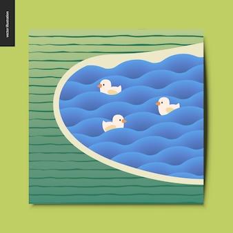 波と縞模様のフィールドのポストカードでアヒルの湖