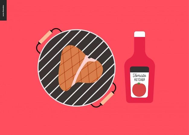 Барбекю на гриле мясо и кетчуп