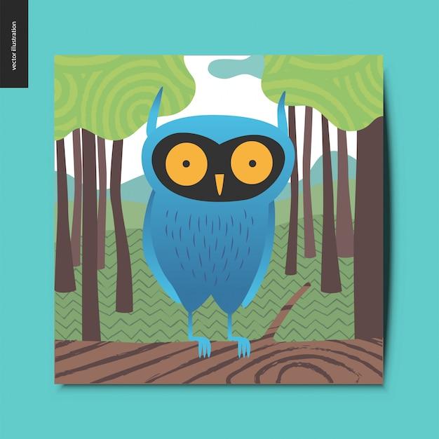 森の中の青いフクロウ