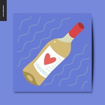 そのラベルに心を持つ白ワインのボトル