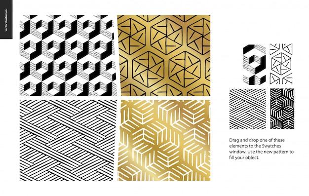 手描きの抽象模様のセット