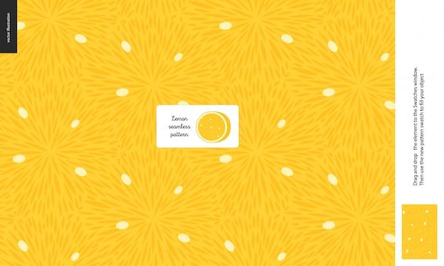 食品パターン、夏 - フルーツ、レモンの質感、中央のレモン画像の半分 - 白い種でいっぱいのレモンサワーパルプのシームレスパターン