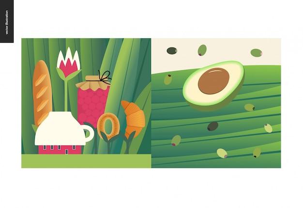 Простые вещи - еда - плоская мультипликационная векторная иллюстрация крошечной кофейни и чайной муки среди огромных травяных стволов, джема, буханки хлеба, круассана, половины авокадо и черных зеленых оливок