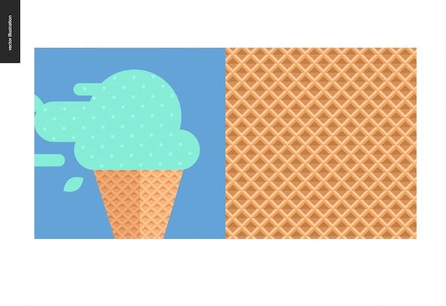ワッフルコーンのミントアイスクリームのフラット漫画イラスト。そしてワッフルコーンのシームレスパターン
