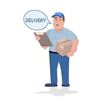 Доставка человек с коробкой в руках