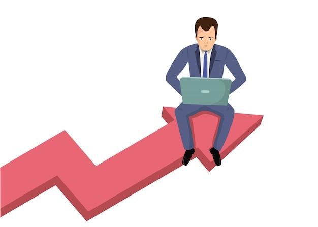 グラフィックデータの矢印の上に座ってラップトップを持ったビジネスマン