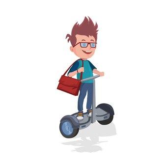 バックパックのジャイロスクーターに乗って男子生徒