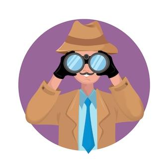 白い背景の上の双眼鏡で探偵。