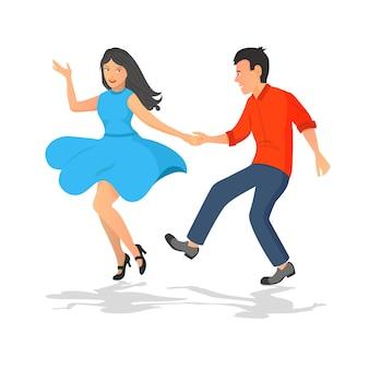 男と女の踊りの幸せなカップル。ミュージカルアクティブダンス。